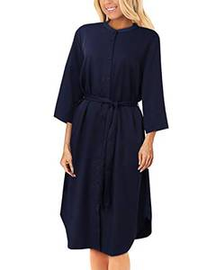 YOINS Kleider Damen Knielang Langarm Elegantes Blusenkleid Herbst Tunikakleid Winterkleid V-Ausschnitt Hemdkleid mit Gürtel