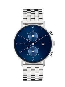 Kapten & Son Armbanduhr Chrono Silver Steel blau / silber