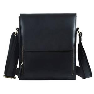 Leathario Herren Leder Umhängetasche Messgerbag für Business Retro Alltage Schwarz