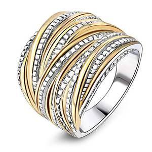 mytysun Statement Ringe für Damen Ring Bandring Gold und Silber vergoldet 2 Tone verflochten Crossover-Anweisung Ring Frauen Geschenk Rings breit Rings
