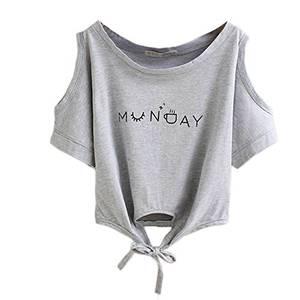 ROPALIA Damen 2016 Baumwolle Crop Top Sommer Crop T Shirt Bluse (EU36/TagL, Grau)