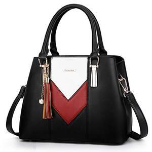 Pomelo Best Damen Handtasche Mehrfarbig gestreift V-förmiges Design (Schwarz-Rot-Weiß)