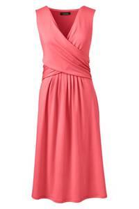 Jerseykleid mit Wickeloberteil in großen Größen, Damen, Größe: 56-58 Plusgrößen, Rot, by Lands'' End, Hell Wassermelone Sorbet