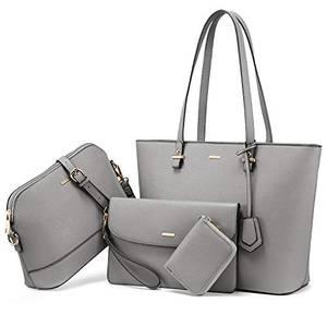 LOVEVOOK Handtasche Damen Schultertasche Handtaschen Tragetasche Damen Groß Designer Elegant Umhängetasche Henkeltasche Set 3-teiliges Set Grau
