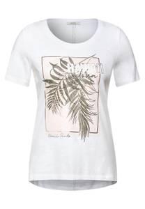 CECIL Damen T-Shirt mit Partprint in Weiß