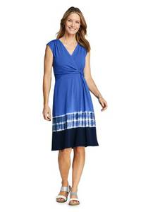 Gemustertes Wickelkleid aus Jersey in Petite-Größe, Damen, Größe: XS Petite, Blau, by Lands'' End, Tiefsee Patchwork