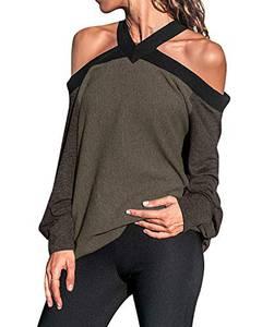 kenoce Damen Langarmshirt Schulterfrei V-Ausschnitt Off Shoulder Sexy Oberteile Casual T Shirts Loose Tops B-Kaffee XL