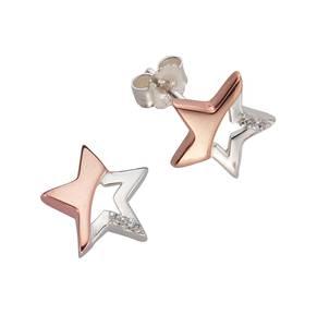 FIRETTI Paar Ohrstecker »Stern« mit Zirkonia kupfer / rosé / silber