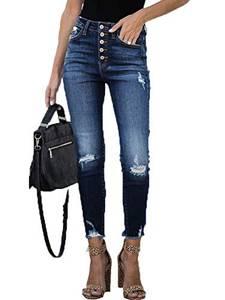 Maavoki Damen Slim Skinny Jeans mit Stretch, Hohe Taille Leggings Damen Jeanshose, Knöpfte Röhrenjeans mit Löchern Frauen Denim Hose (Blau, S)