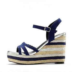LASCANA Sandalette hellbeige / dunkelblau / silber