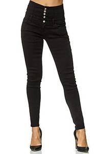 Elara Damen Stretch Jeans Skinny High Waist Chunkyrayan Y6109 Black 42 (XL)
