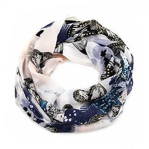 MANUMAR Loop-Schal für Damen | Hals-Tuch in Blau WeißGrau mit Schmetterling Motiv als perfektes Herbst Winter Accessoire | Damen-Schal | Rundschal | Geschenkidee für Frauen und Mädchen