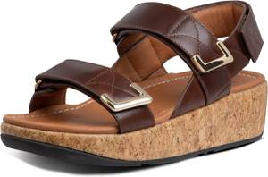 FitFlop™ Remi Adjustable Back-Strap Sandals Leather Chocolate Brown - Maat 39