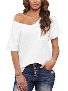 Maavoki Damen Kurzarm Sommer Basic Bluse, Einfarbiges T-Shirt V-Ausschnitt Tops für Damen, Lässig Locker Tunika Oberteil mit Brusttasche (Weiß, L)