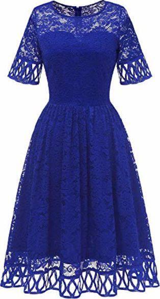 Outfits Mit Muadress 6068 Cocktailkleid Damen Abendkleid Kurz Kleid Festlich Spitzenkleid Knielang Fur Hochzeit Royalblau M 1 Outfits Frauenoutfits De