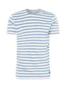 BLEND T-Shirt rauchblau / weiß