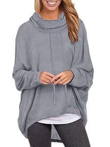 ZANZEA Damen Jumper Langarmshirts Asymmetrisch Sweatshirt Rollkragen Pullover Oversize Tops X-01 Grau Medium