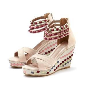LASCANA Sandalette rot / beige / rosa