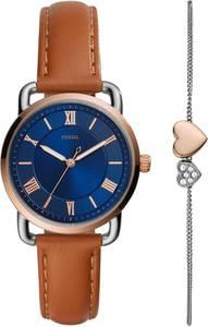 FOSSIL Uhr blau / gold / braun