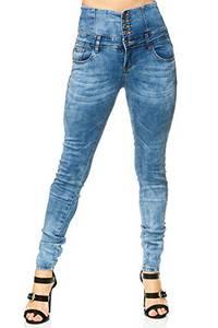 Elara Damen Stretch Jeans Skinny High Waist Chunkyrayan M448 Blue 34 (XS)