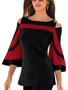 YOINS T-Shirt Damen Elegant Herbst Oberteile Damen Sexy Bluse Schulterfrei Casual Tops, Rot, Gr.- M