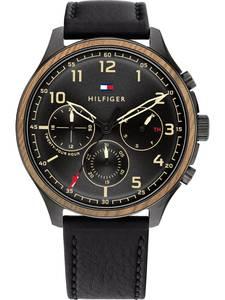 TOMMY HILFIGER Uhr schwarz / braun / rot / gold
