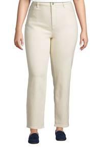 Natur Straight Fit Jeans High Waist, knöchellang in großen Größen, Damen, Größe: XL Plusgrößen, Elfenbein, Baumwoll-Mischung, by Lands'' End, Natur