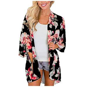MRULIC Damen Florale Kimono Cardigan Boho Chiffon Sommerkleid Beach Cover up Leicht Tuch für die Sommermonate am Strand oder See (S, Khaki)