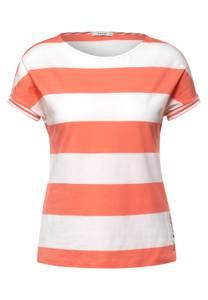CECIL Damen T-Shirt mit Streifen Muster in Orange,Weiß