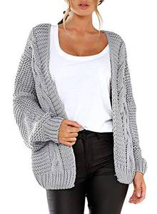 Dokotoo Damen Grobstrick Strickjacke Herbst Winter Cardigan Patchwork Outwear Langarm Cardigan Casual Open Front Sweater Outwear Grau S