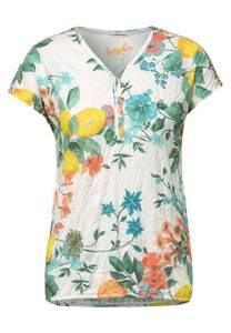 CECIL Damen T-Shirt mit Crash Optik in Weiß