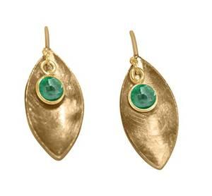 Gemshine - Damen - Ohrringe - Ohrhänger - 925 Silber - Vergoldet - Marquise - Minimalistisch - Design - Smaragd - Grün - 3 cm