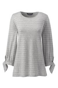 Gestreiftes Shirt mit Schleifen aus Baumwoll/Modalmix in Petite-Größe, Damen, Größe: XS Petite, Grau, by Lands'' End, Classic Grau-Meliert Streifen