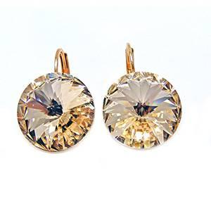 Linus Jade® Ohrhänger Brisur großer Swarovski®-Kristall 18kt rosévergoldet Beige