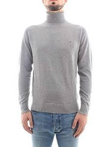 Tommy Hilfiger Herren Rollkragen-Pullover Cotton Silk Roll Silber (12) M