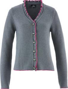 Trachten-Strickjacke mit Rüschen langarm  in grau für Damen von bonprix