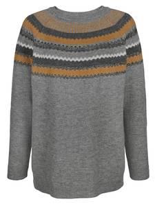 Pullover MIAMODA Grau/Beige/Creme-Weiß