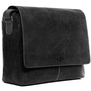 SID & VAIN XL Messenger Bag mit 15  Laptop-Fach echt Leder Spencer groß Businesstasche Laptoptasche Umhängetasche Ledertasche Herren schwarz