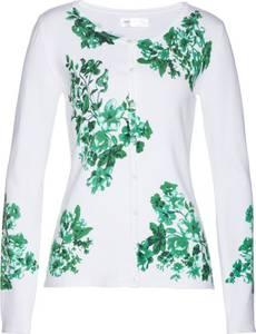 Strickjacke mit Blumendruck langarm  in weiß für Damen von bonprix