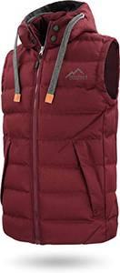 Herren Outdoor Weste Steppweste mit Abnehmbarer Kapuze und Stehkragen, große Seitentaschen und ECO-Obermaterial aus PET-Flaschen - SBS-Reißverschlüsse Farbe Bordeaux Größe M