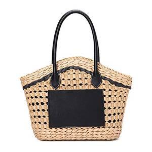 JOSEKO Casual Handtasche Stroh Umhängetasche für Damen Tragetasche Strandtasche Hellbraun