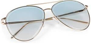 styleBREAKER Damen Piloten Sonnenbrille mit Glitzer Highlights im Glas, getönte Polycarbonat Gläser und Metall Gestell, Pilotenbrille 09020107, Farbe:Gestell Gold/Glas Blau