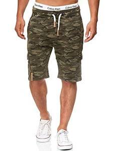 Indicode Herren White Rock Cargo Sweatshorts m. 5 Taschen aus 100% Baumwolle   Kurze Hose Cargo Shorts Militär Camouflage Sporthose Army Short Sweat Pants Freizeithose f. Männer Army XL