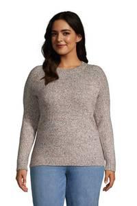 Rundhals-Pullover im Baumwollmix in großen Größen, Damen, Größe: 48-50 Plusgrößen, Braun, by Lands'' End, Satt Sattelbraun Multi