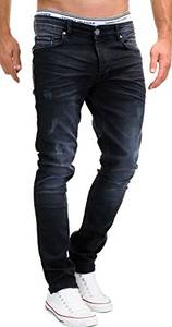 MERISH Jeans Herren Slim Fit Stretch Hose Jeanshose Denim 9148 (32-32, 9148 Schwarz)