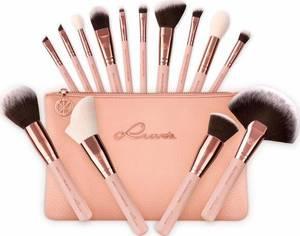 Luvia Cosmetics Essential Brushes - Rose Golden Vintage, Veganes Make-Up Pinselset mit Pinseltasche rosegold / puder