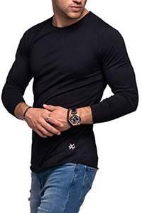 JACK & JONES Herren Langarmshirt Infinity Longshirt O-Neck T-Shirt (M, Black)