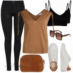 Outfit in warme zomerkleuren VrouwenOutfits.nl