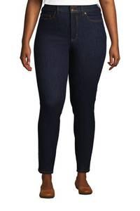 Shaping Jeans, Skinny Fit High Waist in großen Größen, Damen, Größe: 48 28 Plusgrößen, Blau, Denim, by Lands'' End, Tiefes Indigo