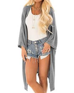 YOINS Strickjacke Damen Herbst Winter Strickmantel Elegante Sweatshirt Kimono Strickpullover Langen Casual Sweater Cardigan Jacke Tops Outwear Pullover Grau L